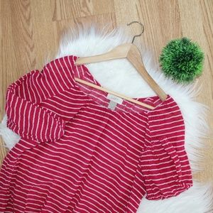 Loft Pink Stripe Off Shoulder Blouse SP